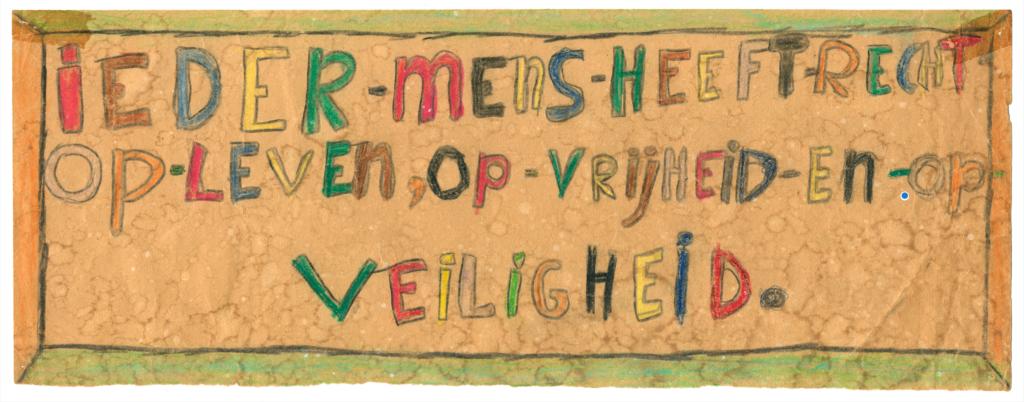 Rechten van de mens. Tekening Antoinette 1966